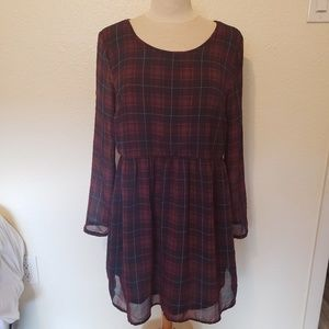 Divided tartan plaid lattice back dress